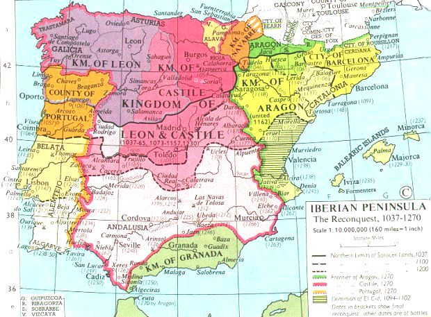Map Of Spain 1500.Internet History Sourcebooks