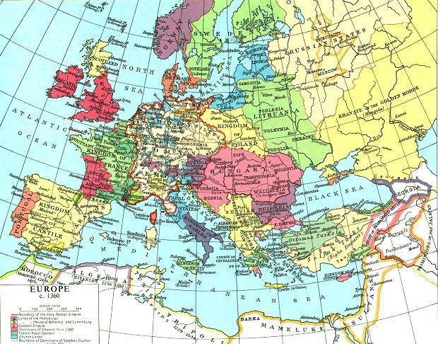 14th Century Map Of Europe.Whkmla Historical Atlas Holy Roman Empire Page