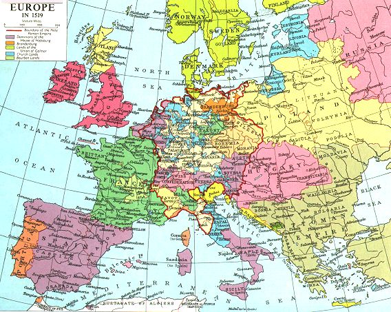 15th Century Map Of Europe.Internet History Sourcebooks