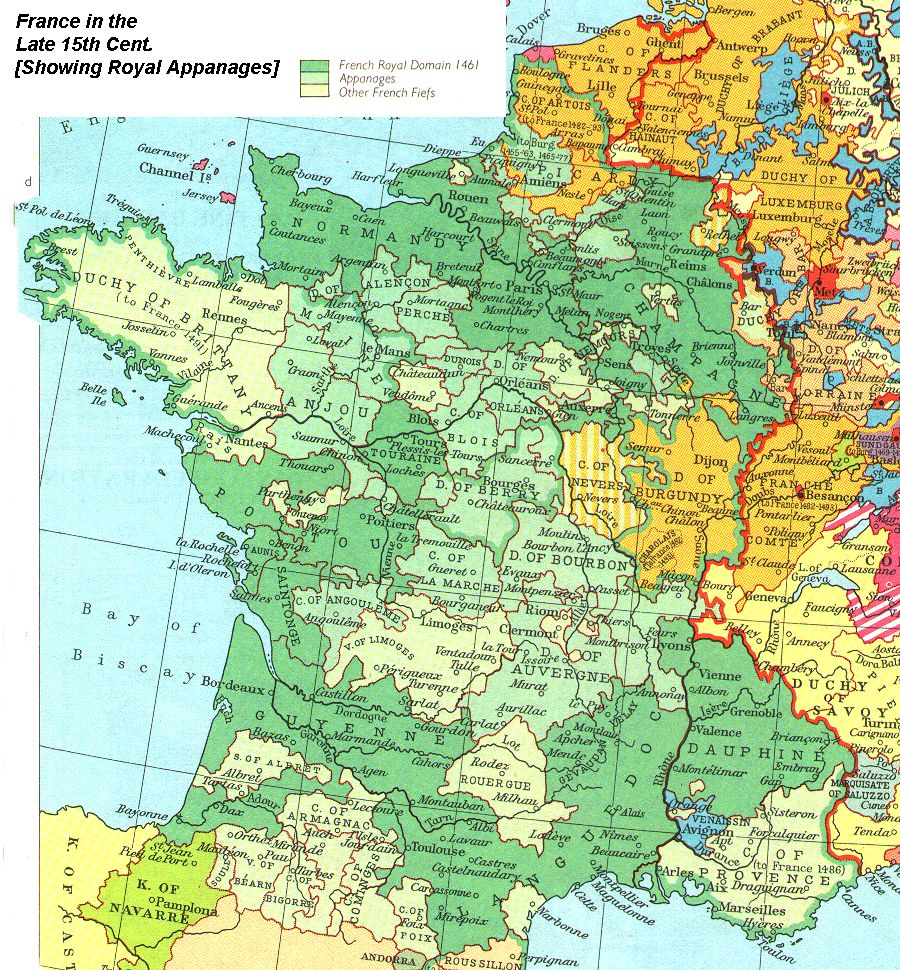 Map Of France 1500.Internet History Sourcebooks