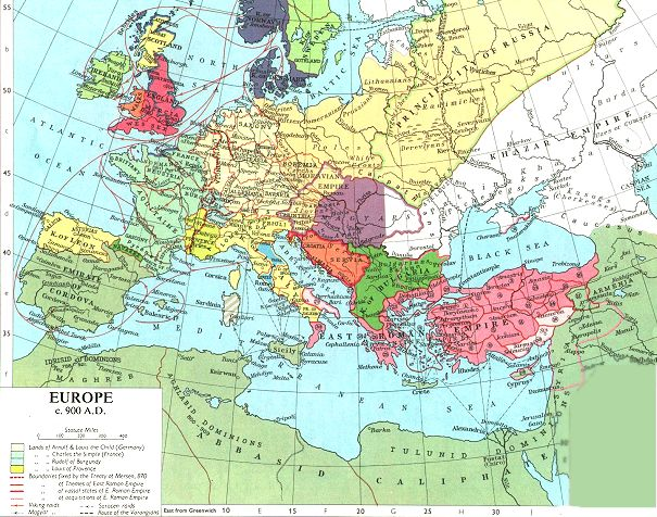 Map Of Europe 900 Ad