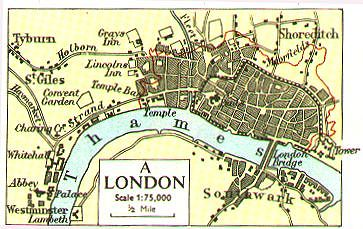 Map Of London 1600.Internet History Sourcebooks