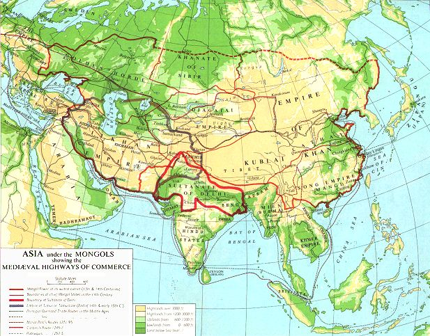 Internet history sourcebooks map transasian trade routes 13th century gumiabroncs Image collections